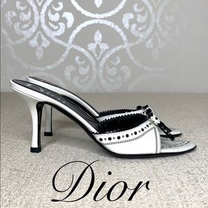 DIOR BLACK AND WHITE SIZE 7 SLIDE HEELS